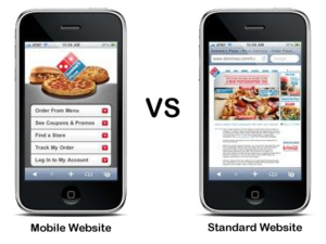Dominos Pizza Mobile optimised vs Standard site